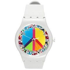 Peace Sign Animals Pattern Round Plastic Sport Watch (m) by BangZart