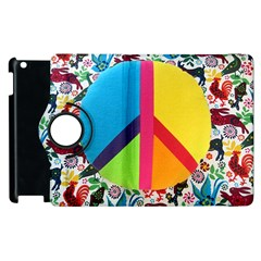 Peace Sign Animals Pattern Apple Ipad 2 Flip 360 Case by BangZart