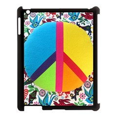 Peace Sign Animals Pattern Apple iPad 3/4 Case (Black) by BangZart