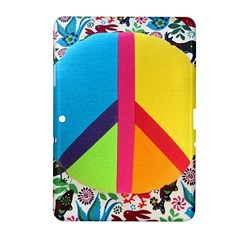 Peace Sign Animals Pattern Samsung Galaxy Tab 2 (10 1 ) P5100 Hardshell Case