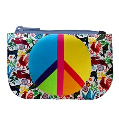 Peace Sign Animals Pattern Large Coin Purse by BangZart