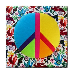 Peace Sign Animals Pattern Tile Coasters by BangZart
