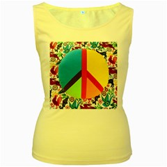 Peace Sign Animals Pattern Women s Yellow Tank Top by BangZart