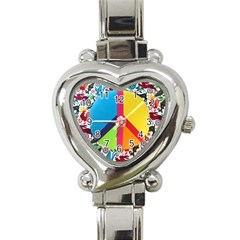 Peace Sign Animals Pattern Heart Italian Charm Watch by BangZart