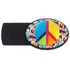 Peace Sign Animals Pattern Usb Flash Drive Oval (4 Gb) by BangZart