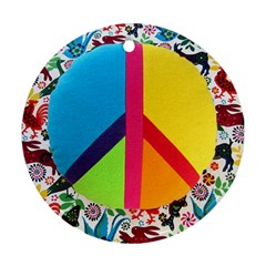 Peace Sign Animals Pattern Round Ornament (two Sides)