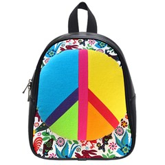 Peace Sign Animals Pattern School Bags (small)  by BangZart