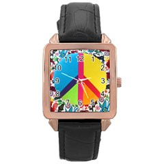 Peace Sign Animals Pattern Rose Gold Leather Watch