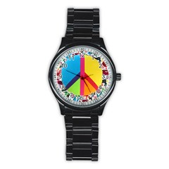 Peace Sign Animals Pattern Stainless Steel Round Watch by BangZart