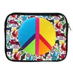 Peace Sign Animals Pattern Apple Ipad 2/3/4 Zipper Cases by BangZart