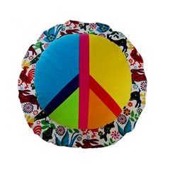Peace Sign Animals Pattern Standard 15  Premium Flano Round Cushions by BangZart