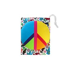 Peace Sign Animals Pattern Drawstring Pouches (xs)