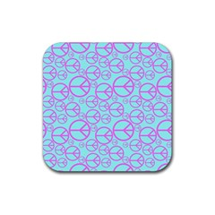 Peace Sign Backgrounds Rubber Square Coaster (4 Pack)  by BangZart