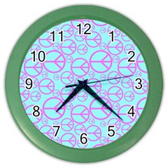 Peace Sign Backgrounds Color Wall Clocks by BangZart