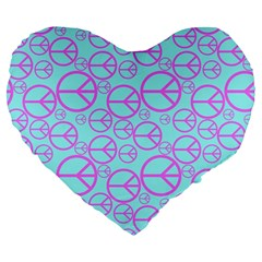 Peace Sign Backgrounds Large 19  Premium Flano Heart Shape Cushions by BangZart