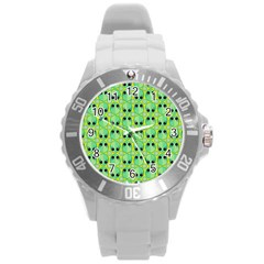 Alien Pattern Round Plastic Sport Watch (L) by BangZart