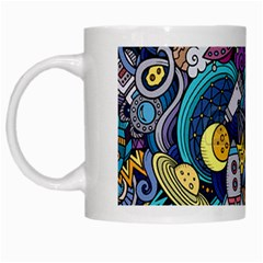 Cartoon Hand Drawn Doodles On The Subject Of Space Style Theme Seamless Pattern Vector Background White Mugs by BangZart