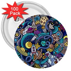 Cartoon Hand Drawn Doodles On The Subject Of Space Style Theme Seamless Pattern Vector Background 3  Buttons (100 Pack)