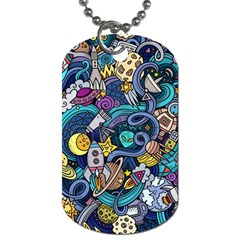 Cartoon Hand Drawn Doodles On The Subject Of Space Style Theme Seamless Pattern Vector Background Dog Tag (one Side) by BangZart