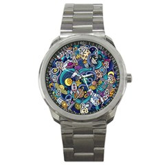 Cartoon Hand Drawn Doodles On The Subject Of Space Style Theme Seamless Pattern Vector Background Sport Metal Watch by BangZart