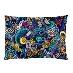 Cartoon Hand Drawn Doodles On The Subject Of Space Style Theme Seamless Pattern Vector Background Pillow Case