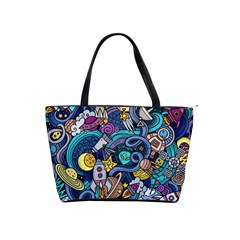 Cartoon Hand Drawn Doodles On The Subject Of Space Style Theme Seamless Pattern Vector Background Shoulder Handbags by BangZart