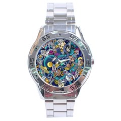 Cartoon Hand Drawn Doodles On The Subject Of Space Style Theme Seamless Pattern Vector Background Stainless Steel Analogue Watch by BangZart