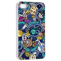 Cartoon Hand Drawn Doodles On The Subject Of Space Style Theme Seamless Pattern Vector Background Apple Iphone 4/4s Seamless Case (white) by BangZart