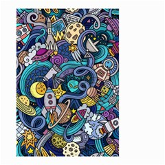 Cartoon Hand Drawn Doodles On The Subject Of Space Style Theme Seamless Pattern Vector Background Small Garden Flag (two Sides) by BangZart
