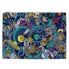 Cartoon Hand Drawn Doodles On The Subject Of Space Style Theme Seamless Pattern Vector Background Cosmetic Bag (xxl)