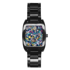Cartoon Hand Drawn Doodles On The Subject Of Space Style Theme Seamless Pattern Vector Background Stainless Steel Barrel Watch by BangZart