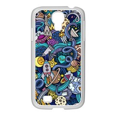 Cartoon Hand Drawn Doodles On The Subject Of Space Style Theme Seamless Pattern Vector Background Samsung Galaxy S4 I9500/ I9505 Case (white) by BangZart