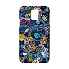 Cartoon Hand Drawn Doodles On The Subject Of Space Style Theme Seamless Pattern Vector Background Samsung Galaxy S5 Hardshell Case