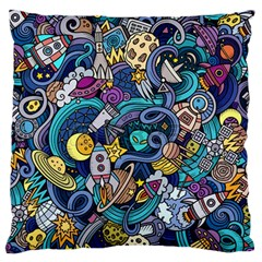Cartoon Hand Drawn Doodles On The Subject Of Space Style Theme Seamless Pattern Vector Background Standard Flano Cushion Case (one Side) by BangZart