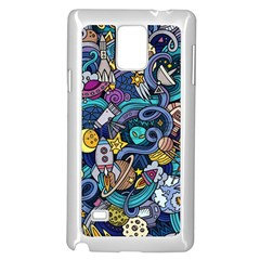 Cartoon Hand Drawn Doodles On The Subject Of Space Style Theme Seamless Pattern Vector Background Samsung Galaxy Note 4 Case (white) by BangZart