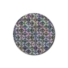 Peace Pattern Rubber Coaster (round)