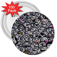 Alien Crowd Pattern 3  Buttons (100 Pack)  by BangZart