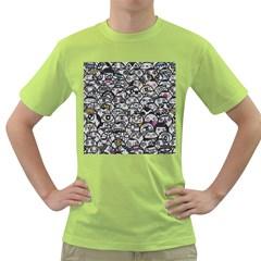 Alien Crowd Pattern Green T Shirt
