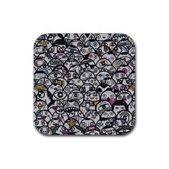 Alien Crowd Pattern Rubber Square Coaster (4 Pack)  by BangZart