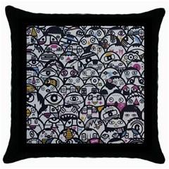 Alien Crowd Pattern Throw Pillow Case (black) by BangZart