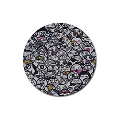 Alien Crowd Pattern Rubber Coaster (round)  by BangZart