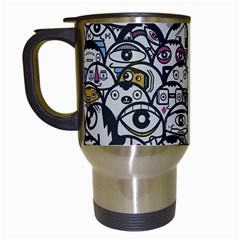 Alien Crowd Pattern Travel Mugs (white)