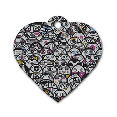 Alien Crowd Pattern Dog Tag Heart (two Sides)