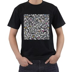 Alien Crowd Pattern Men s T Shirt (black)