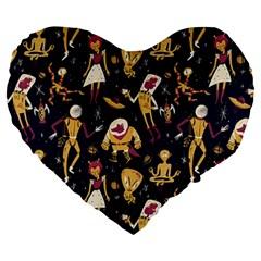 Alien Surface Pattern Large 19  Premium Flano Heart Shape Cushions by BangZart