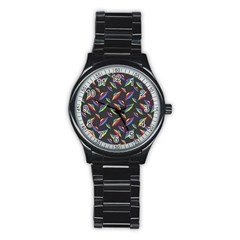 Alien Patterns Vector Graphic Stainless Steel Round Watch by BangZart