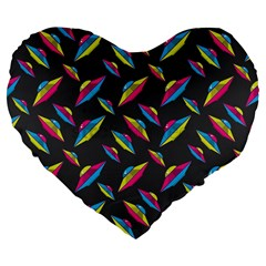 Alien Patterns Vector Graphic Large 19  Premium Flano Heart Shape Cushions