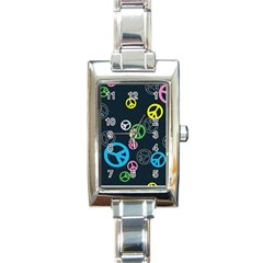 Peace & Love Pattern Rectangle Italian Charm Watch by BangZart