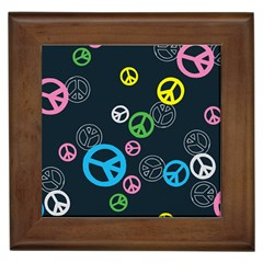 Peace & Love Pattern Framed Tiles by BangZart