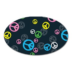 Peace & Love Pattern Oval Magnet by BangZart